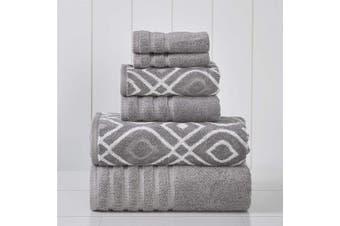 (Ash Grey) - Amrapur Overseas 6-Piece Yarn Dyed Oxford Stripe Jacquard/Solid Ultra Soft 500GSM 100% Combed Cotton Towel Set [Ash Grey]