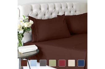 (Twin, Brown) - Twin Size Sheet Set - 3 Piece Set - Hotel Luxury Bed Sheets - Extra Soft - Deep Pockets - Easy Fit - Breathable & Cooling - Wrinkle Free - Comfy – Brown Chocolate Bed Sheets – Twins Sheets - 3 PC