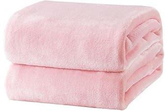 (Throw(130cm  x 150cm ), Pink) - Bedsure Fleece Blanket Throw Size Pink Lightweight Throw Blanket Super Soft Cosy Microfiber Blanket
