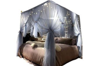(120cm W*200cm L*210cm *H/(Suggested for Twin), Gray-blue) - Joyreap 4 Corners Post Canopy Bed Curtain for Girls & Adults - Royal Luxurious Cosy Drape Netting - 3 Opening Mosquito Net - Cute Princess Bedroom Decoration Accessories(Grey-blue, 120cm W x