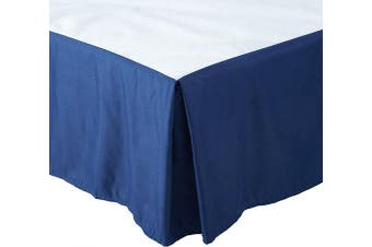 (Queen, Navy Blue) - Fancy Collection Queen Size Easy Care Tailored Microfiber 36cm Bed Skirt Solid Navy Blue