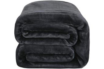 (Twin(150cm  x 200cm ), Ash Black) - Bedsure Flannel Fleece Blanket 350GSM - Twin Blanket 150cm x 200cm , Ash Black - Soft, Plush, Warm Blanket for All Season, Thick Blanket for Couch Sofa Bed Travelling - Reversible Bed Blankets