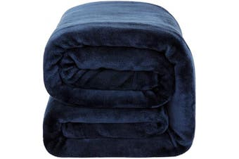 (Throw(130cm  x 150cm ), Navy) - Bedsure Flannel Fleece Blanket 350GSM - Super Soft Warm Thick All Season Blanket for Couch Sofa Bed Travelling - Reversible Plush Bed Blankets, Throw Blanket 130cm x 150cm , Navy Blue