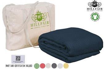 (Queen, Navy) - HILLFAIR 100% GOTS Certified Organic Cotton Winter Blanket- Queen Size Bed Blankets- All Season Cotton Blanket- Navy Blue Queen Blanket- Soft Multipurpose Queen Blankets - Organic Cotton Bed Blankets