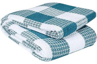 (Twin Blanket(150cm  x 230cm ), Teal White) - All Season Cotton Thermal Blanket in Waffle Buffalo Cheque Weave -Perfect for Layering Any Bed, Teal White, 150cm x 230cm ,Light Thermal Blankets,Twin Thermal Blankets,Breathable Blanket