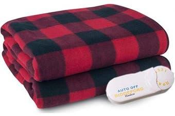 (Red Black Plaid) - Biddeford Comfort Knit Fleece Electric Heated Warming Throw Blanket Red Black Plaid Washable Auto Shut Off 10 Heat Settings