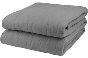(Gray) - Biddeford Comfort Knit Fleece Electric Heated Warming Throw Blanket Grey Washable Auto Shut Off 10 Heat Settings