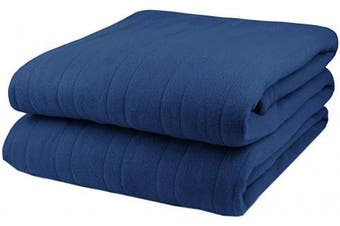 (Arrowhead Blue) - Biddeford Comfort Knit Fleece Electric Heated Warming Throw Blanket Arrowhead Blue Washable Auto Shut Off 10 Heat Settings