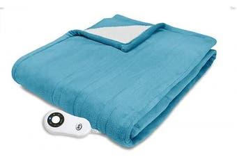 (Bay Blue) - Serta | Super Soft Reversible Microplush/Sherpa Heated Electric Throw Blanket (Bay Blue)
