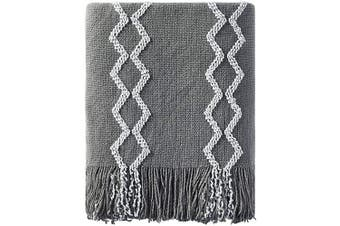 (130cm  x 150cm , Gray) - Bourina Fluffy Chenille Knitted Fringe Throw Blanket Lightweight Soft Cosy for Bed Sofa Chair Throw Blankets, 130cm x 150cm ,Grey
