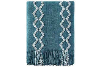 (130cm  x 150cm , Teal) - Bourina Fluffy Chenille Knitted Fringe Throw Blanket Lightweight Soft Cosy for Bed Sofa Chair Throw Blankets, 130cm x 150cm ,Teal