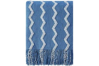 (130cm  x 150cm , Blue) - Bourina Fluffy Chenille Knitted Fringe Throw Blanket Lightweight Soft Cosy for Bed Sofa Chair Throw Blankets, 130cm x 150cm (Blue, 130cm x 150cm )