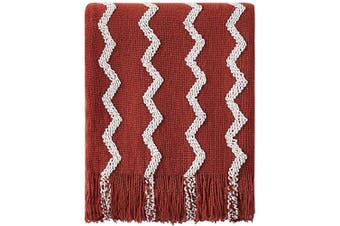 (130cm  x 150cm , Rust) - Bourina Fluffy Chenille Knitted Fringe Throw Blanket Lightweight Soft Cosy for Bed Sofa Chair Throw Blankets, 130cm x 150cm (Rust, 130cm x 150cm )