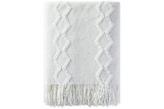 (130cm  x 150cm , White) - Bourina Fluffy Chenille Knitted Fringe Throw Blanket Lightweight Soft Cosy for Bed Sofa Chair Throw Blankets, 130cm x 150cm ,White