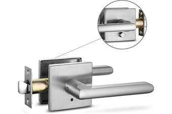 (Privacy [Lock with no key required], Brushed Nickel) - Berlin Modisch Privacy Lever Door Handle Slim Square Easy to Open Locking Lever Set [for Bedroom or Bathroom] Reversible for Right & Left Sided Doors Heavy Duty - Satin Nickel Finish