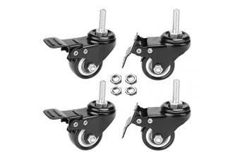 """(2 """" Wheel - M8x25mm) - AAGUT 4pcs 2"""" Swivel Stem Casters with Brake Lock, M8x25mm Stem Caster Wheel, Heavy Duty PU Rubber Wheels, Nuts Included, OeCaster50_825"""