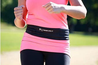 (Black, M) - Running and Fitness Belt, Ideal for holding Phones, keys and cards. Great for outdoors, gym and sport activities.