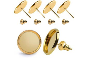 BronaGrand 50 Pieces Stainless Steel Stud Gold Earring Cabochon Setting Post Cup for 12mm and 50 Pieces Bullet Clutch Earrings Safety Backs