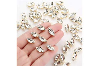 (Clear) - Choupee Navette Sew on Rhinestone 50pcs Horse Eyes Sew on Claw Rhinestone 7x15mm Rhinestones Sew on in Gold Colour Prong Setting for Dresses, Clothes, Bags, Shoes