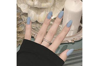 Brishow Coffin False Nails Long Blue Fake Nails Ballerina Matte Stick on Nails Full Cover Acrylic False Nail Tips 24pcs for Women and Girls(Light Blue)
