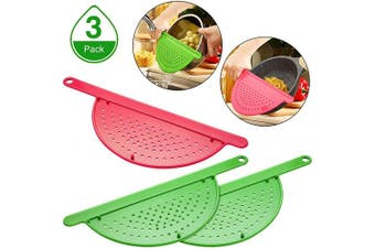 3 Pieces Pot Drainer with Handle Hand Held Pan Pot Strainer Plastic Pot Side Strainer Pasta Pot Drainers for Noddles Fruit Veggies and More, Fits up to 23cm