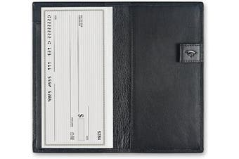 (Black) - Chequebook Cover with Divider for Men/Women,Made by Italy Leather