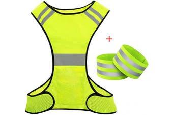 (One size+Bands) - Biqing Hi Vis Reflective Vest High Visibility Vest Hi Viz Safety Jackets For Running Walking Cycling Jogging.