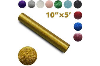 (25cm ×1.5m, Gold) - Glitter Vinly,Heat Transfer Vinyl for DIY Clothing,Shirts,Bags,Hats,Socks,Iron on HTV Compatible with Cricut,Sublimation,Cameo,Heat Press Machines (Gold, 25cm ×1.5m)
