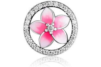 (Pink Crystal) - CKK Flower Charm Fit Pandora Bracelet Purple Enamel Plumeria Spacer Bead Charms for Bracelets DIY Women Jewellery 925 Sterling Silver (Pink Crystal)
