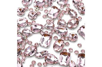 (Pink) - 130 pcs (30 Regular +100 Small) Mixed Sew on Rhinestone Claw Crystal Rhinestones for DIY Craft, Jewellery Making,Clothing Accessory (Pink)