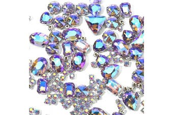 (Dream Purple) - Sew On Rhinestones, Choupee 130PCS Sew On Stones Metal Back Prong Setting Sewing Claw Rhinestone Mixed Shapes Sew On Glass Gems for Jewellery, Clothes, Costume, Shoes, Belt, Dress, Garments and Crafts