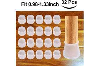 Furniture Silicon Protection Cover, Fit 1 to 3.6cm , 32Pcs Chair Leg Caps, Silicone Floor Protector, Round Furniture Table Feet Cover, Prevents Scratches and Noise Without Leaving Marks
