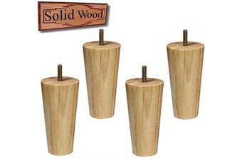 (5 inch high) - Sopicoz Wood Furniture Legs Set of 4 Sofa Legs 13cm Clear Coated Tapered Legs for Couch Bed