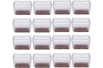 "(Rectangle fit L: 1.54""-1.89"" W: 0.94""-1.22"", Transparent) - Antrader 16pcs Silicon Rectangle Furniture Pads Floor Protector Sofa Non-Slip Chair Feet Pad Table Leg Cap with Felt Pads Length 1-9/16"" to 1-13/16"" (3.9-4.8cm),Width 1"" to 1-3/16"" (2.4-3.1cm)"