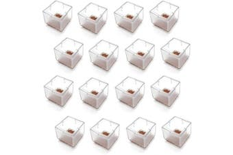 "(Square fit 1.2""-1.4"", Transparent) - Antrader 16pcs Rubber Furniture Pads Square Shape Floor Protector Chair Sofa Non-Slip Feet Pad Leg Cap with Felt Pads Fit 1.2""-1.4""(3-3.5cm) Transparent"