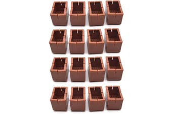 "(Rectangle fit L: 1.54""-1.89"" W: 0.94""-1.22"", Brown) - Antrader 16pcs Silicon Rectangle Furniture Pads Floor Protector Sofa Non-Slip Chair Feet Pad Table Leg Cap with Felt Pads Length 1-9/16"" to 1-13/16"" (3.9-4.8cm),Width 1"" to 1-3/16"" (2.4-3.1cm) Brown"