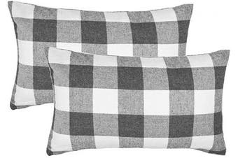 (30cm  x 50cm , Grey & White) - 4TH Emotion Set of 2 Farmhouse Buffalo Cheque Plaid Throw Pillow Covers Lumbar Oblong Rectangle Cushion Case Cotton Polyester for Sofa Grey and White, 30cm x 50cm