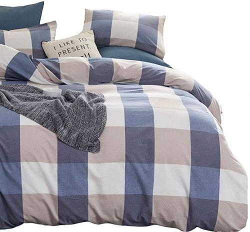 Queen 90x90 Blue Plaid Atsense Duvet Cover Queen 100 Washed Cotton Bedding Duvet Cover Set 3 Piece Ultra Soft And Easy Care Simple Style Farmhouse Bedding Set Blue Grid J806 5 Matt Blatt