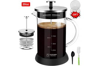 (590ml, Silver) - Upgraded French Press Coffee Maker Glass 590ml, French Coffee Press with Glass handle and non-slip silicone base Precise Scale Easy to Clean Durable Heat Resistant Black/Copper/Silver (Silver, 590ml)