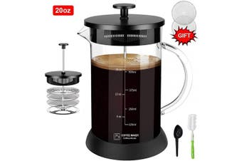 (590ml, Black) - Upgraded French Press Coffee Maker Glass 590ml, French Coffee Press with Glass handle and non-slip silicone base Precise Scale Easy to Clean Durable Heat Resistant Black/Copper/Silver (Black, 590ml)