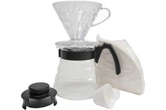 (Craft Coffee Maker, Black) - Hario Set with Dripper, Glass Server Scoop and Filters, Size 02, Craft Coffee Maker, Black
