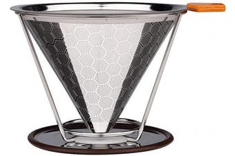 (Orange) - Double Layers Stainless Steel Coffee Filter,Reusable Cone Dripper with Stand,Coffee Tools