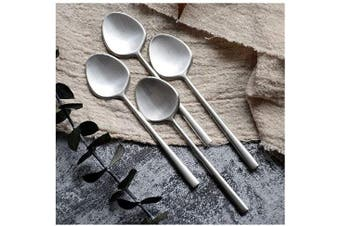 4-piece Mini Teaspoons set for Coffee Sugar Dessert Cake Ice Cream Soup Antipasto cappuccino,4.3 Inch(10.8cm) frosted Coffee Spoon