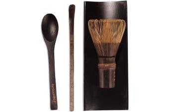 (1, Black Tea Whisk + Black Tray + Black Chasaku + Black Teaspoon Set) - BambooMN Matcha Whisk Set - Black Chasen (Tea Whisk), Black Tray, Black Chashaku (Hooked Bamboo Scoop), Black Tea Spoon - 1 Set