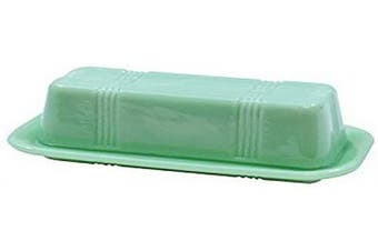 (Butter Dish) - Tablecraft HJ124 Jadeite Glass Collection Butter Dish, 6.75 x 3.25 x 2.25, Green