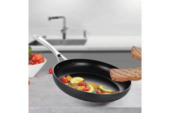 (30cm  Fry Pan) - EPPMO 30cm Hard-Anodized Aluminium Fry Pan, Nonstick Open Frying Pan, Stainless Steel Handle, Dishwasher & Oven Safe