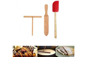 Wooden Crepe Spatula and spreaders Wooden Spatula Set Perfect Size to Fit Medium Crepe Pan 100% Natural Beechwood Crepe Spreader and Spatula for Cooking (m set)