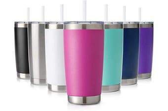 (1 Pack, Fuchsia) - Civago 590ml Tumbler with Lid and Straw, Stainless Steel Vacuum Insulated Coffee Tumbler Cup, Double Wall Powder Coated Travel Mug (Fuschia, 1 Pack)