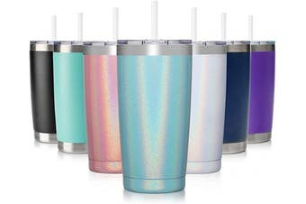 (1 Pack, Mint Shimmer) - Civago 590ml Insulated Stainless Steel Tumbler, Coffee Tumbler with Lid and Straw, Double Wall Vacuum Travel Coffee Mug, Powder Coated Tumbler Cup (Mint Shimmer,1)