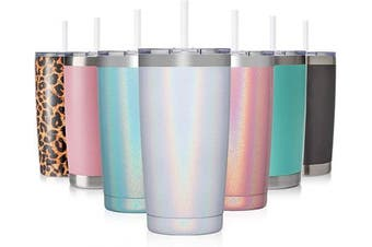 (1 Pack, White Shimmer) - Civago 590ml Insulated Stainless Steel Tumbler, Coffee Tumbler with Lid and Straw, Double Wall Vacuum Travel Coffee Mug, Powder Coated Tumbler Cup (White Shimmer,1)